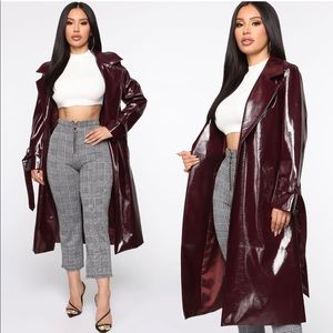 Burgundy Trench Coat // Fashion Nova